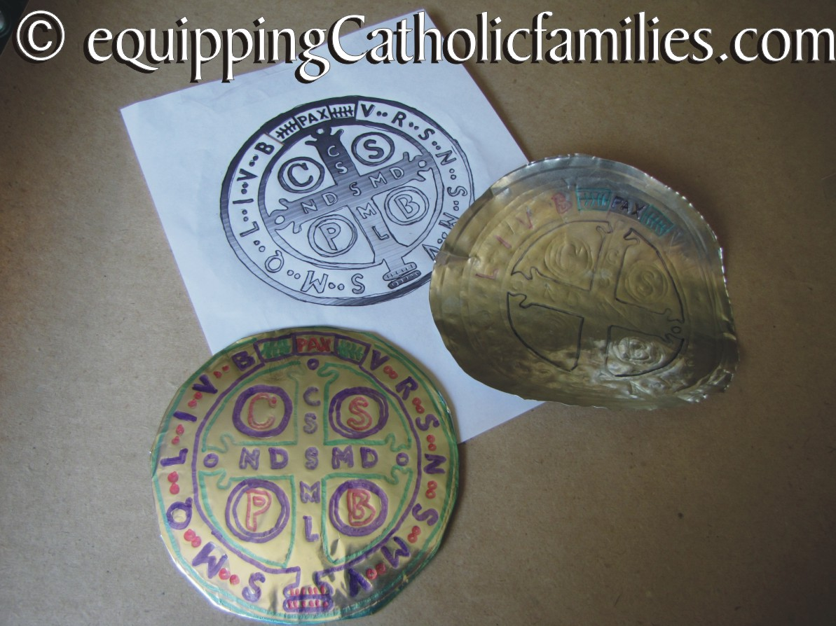 Giant St Benedict Foil Medal Craft with FREE printable