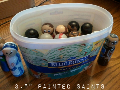 3.5 Easter Wooden dolls in an ice cream tub