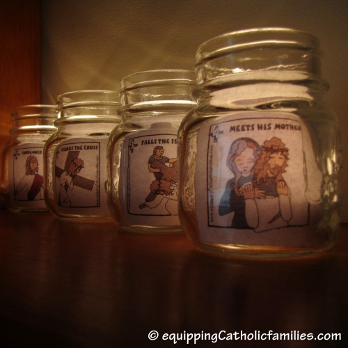 DIY Stations of the Cross Votive Candles